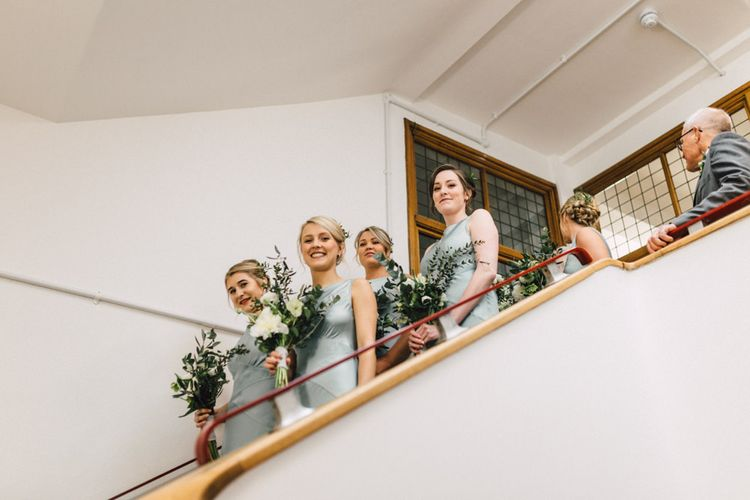 Bridesmaids in Pale Green Ghost Dresses | The Harbour Church Portsmouth Wedding | Emily & Steve Photography
