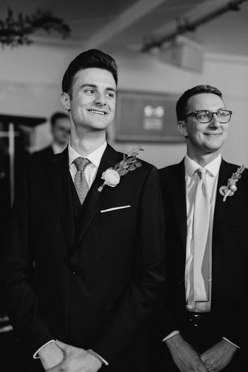 Wedding Ceremony | Groom in Reiss Navy Suit | The Harbour Church Portsmouth Wedding | Emily & Steve Photography