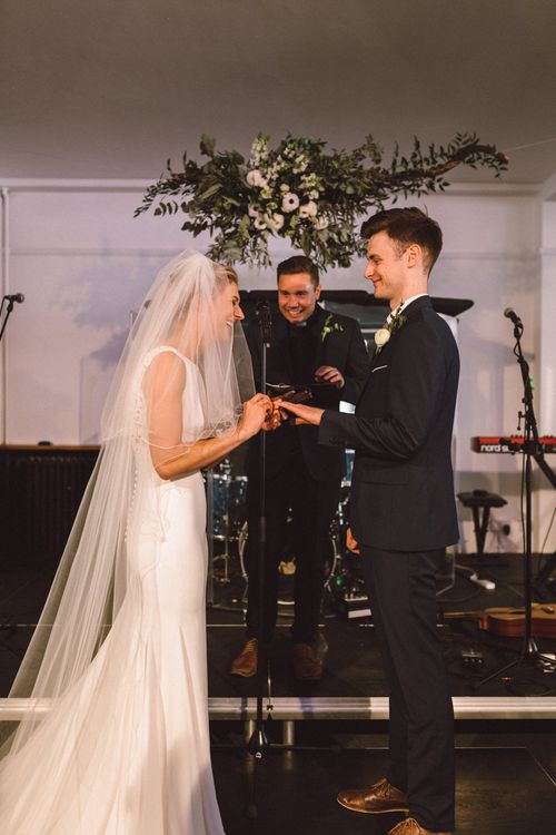 Wedding Ceremony | Bride in Pronovias Gown | Groom in Reiss Navy Suit | The Harbour Church Portsmouth Wedding | Emily & Steve Photography