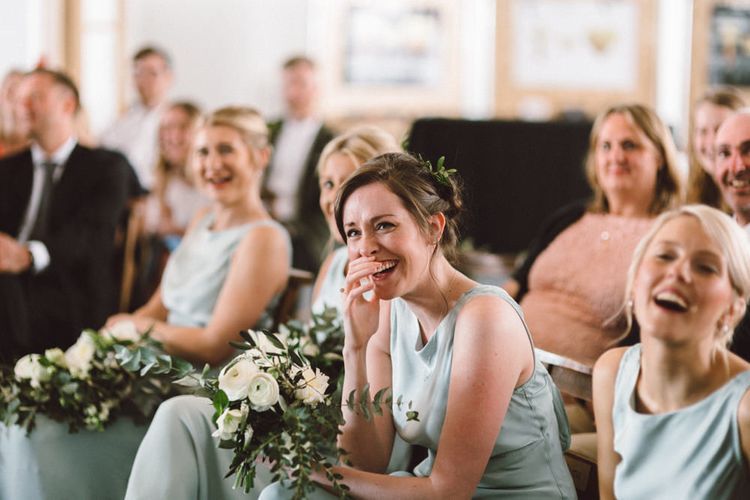 Wedding Ceremony | Bridesmaids in Pale Green Ghost Dresses | The Harbour Church Portsmouth Wedding | Emily & Steve Photography
