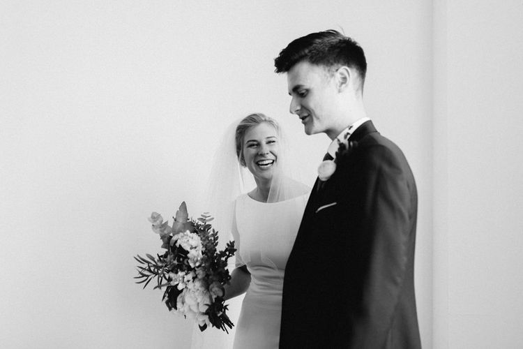 Wedding Ceremony | Bride in Pronovias | Groom in Navy Reiss Suit | The Harbour Church Portsmouth Wedding | Emily & Steve Photography