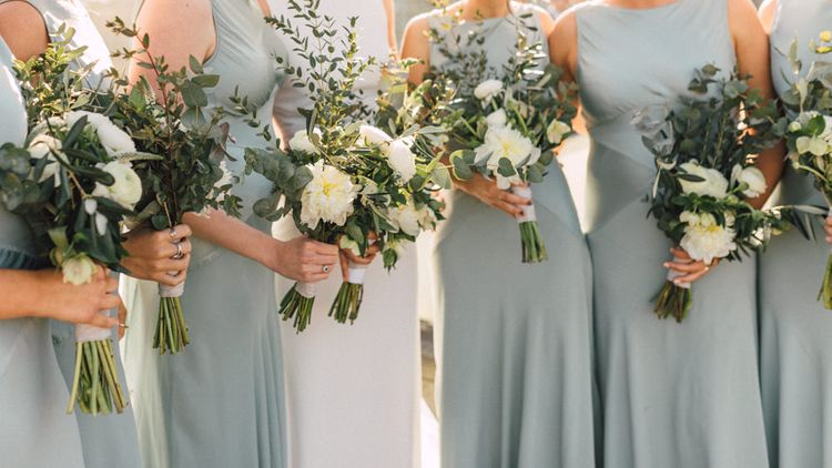 White & Green Bouquet | Bridesmaids in Pale Green Ghost Dresses | The Harbour Church Portsmouth Wedding | Emily & Steve Photography