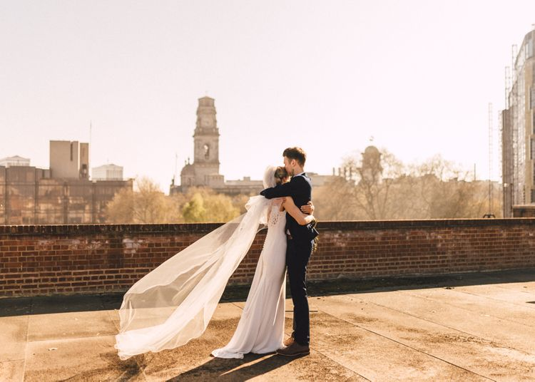 Bride in Pronovias Gown | Groom in Navy Reiss Suit | The Harbour Church Portsmouth Wedding | Emily & Steve Photography