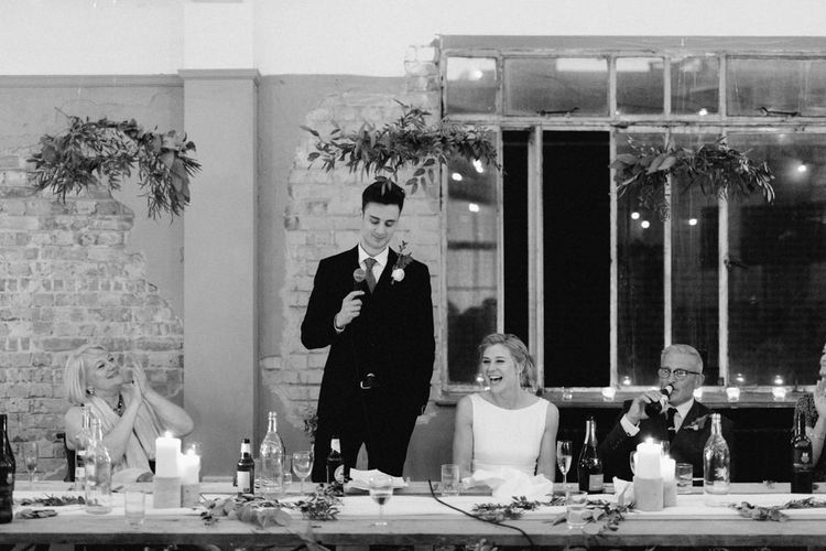 Wedding Reception Speeches | Bride in Pronovias Gown | Groom in Navy Reiss Suit | The Harbour Church Portsmouth Wedding | Emily & Steve Photography