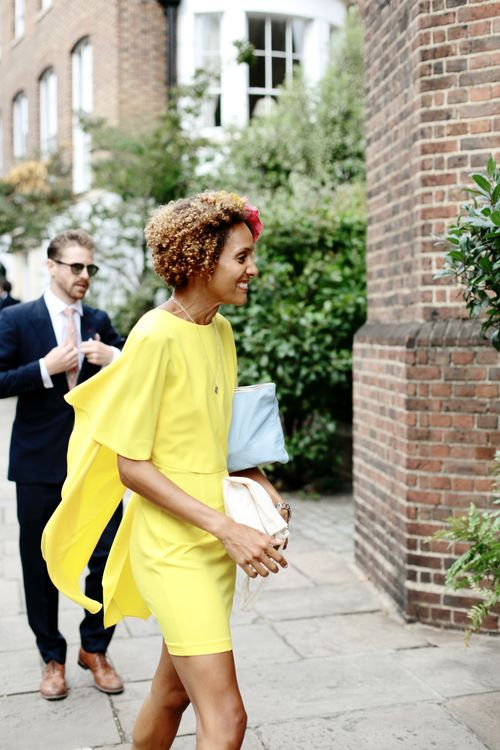 Wedding Guest in Yellow Dress | Dasha Caffrey Photography