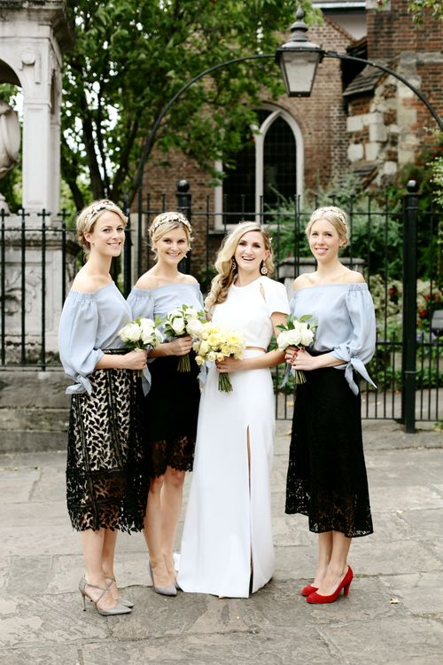 Bride in Contemporary J Mendel Wedding Dress | Bridesmaids in Separates| Dasha Caffrey Photography