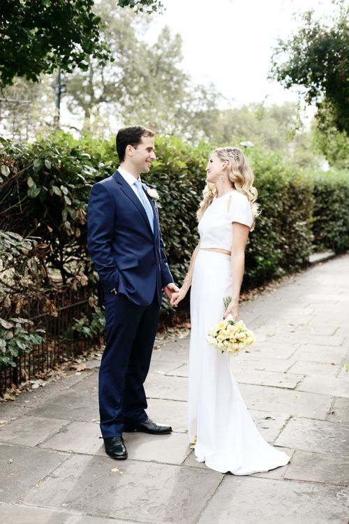 Bride in Contemporary J Mendel Wedding Dress | Groom in Gieves & Hawkes Suit | Dasha Caffrey Photography