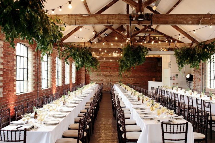 Loft Studios Venue | Hanging Foliage | Festoon Lights | Dasha Caffrey Photography | Liz Linklater Event Planning & Design