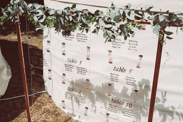 Rustic Table Plan With Foliage