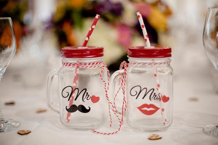 Mr & Mrs Mason Jar Glasses For Wedding