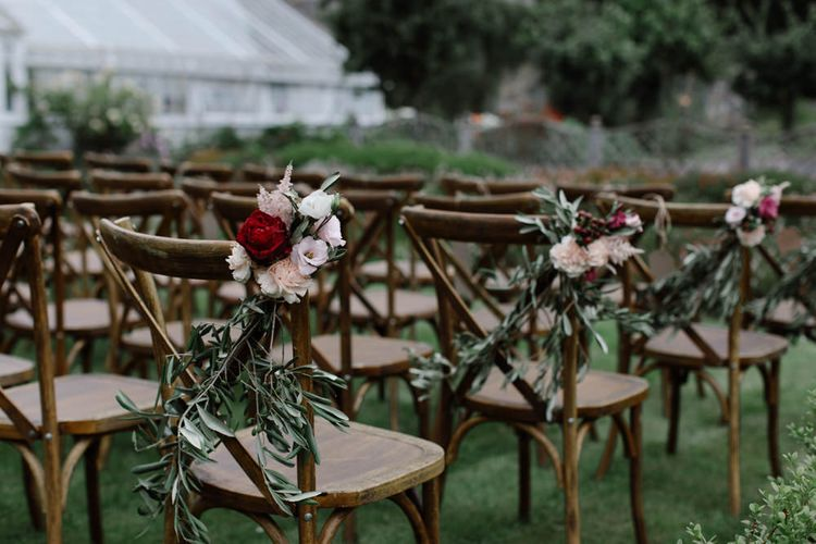 Wooden Cross Back Chairs For Wedding // Outdoor Wedding In Scotland With Burgundy, Pink & Navy Colour Scheme Images From Caro Weiss Photography & Bespoke Stationery From de Winton Paper Co