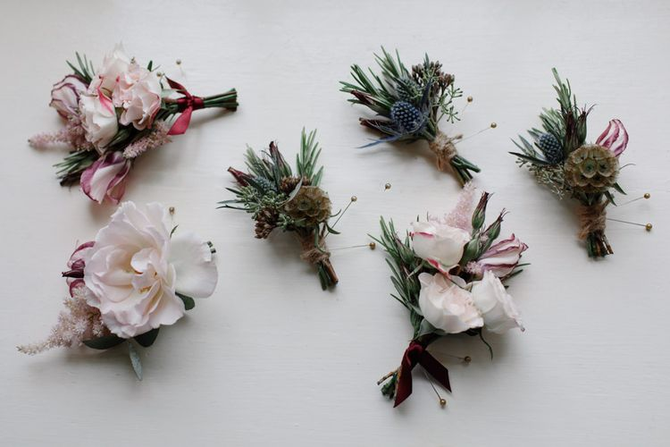 Buttonholes For Wedding // Outdoor Wedding In Scotland With Burgundy, Pink & Navy Colour Scheme Images From Caro Weiss Photography & Bespoke Stationery From de Winton Paper Co
