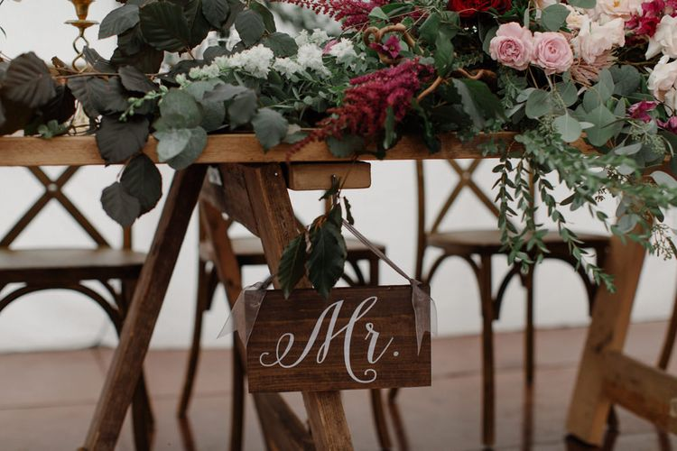 Wooden Signage For Wedding // Outdoor Wedding In Scotland With Burgundy, Pink & Navy Colour Scheme Images From Caro Weiss Photography & Bespoke Stationery From de Winton Paper Co