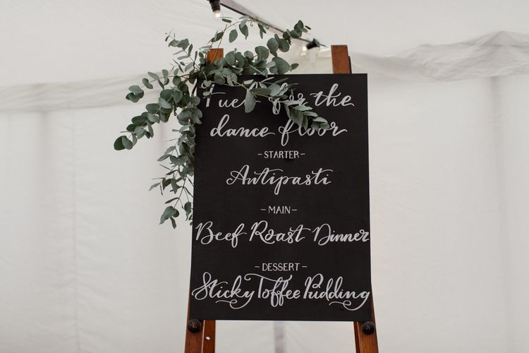 Chalkboard Wedding Sign // Outdoor Wedding In Scotland With Burgundy, Pink & Navy Colour Scheme Images From Caro Weiss Photography & Bespoke Stationery From de Winton Paper Co