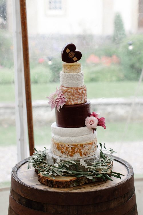Cheese Tower For Wedding // Outdoor Wedding In Scotland With Burgundy, Pink & Navy Colour Scheme Images From Caro Weiss Photography & Bespoke Stationery From de Winton Paper Co