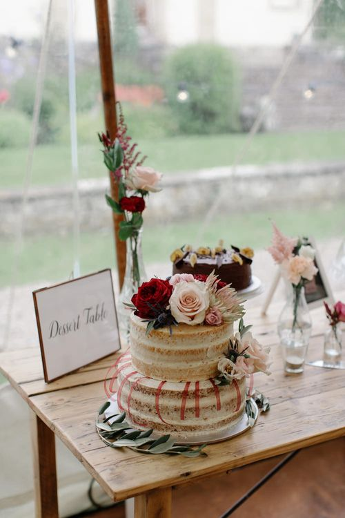 Naked Wedding Cake // Outdoor Wedding In Scotland With Burgundy, Pink & Navy Colour Scheme Images From Caro Weiss Photography & Bespoke Stationery From de Winton Paper Co
