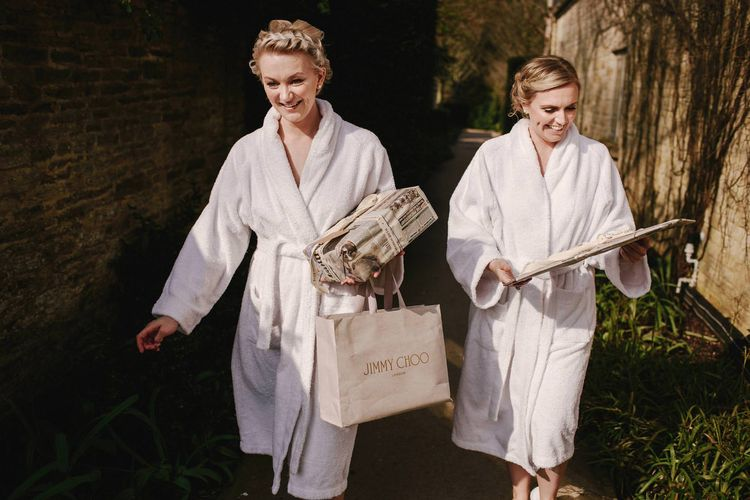 Bridesmaids in Dressing Gowns Delivering Wedding Presents | Andy Gaines Photography | Thompson Granger Films
