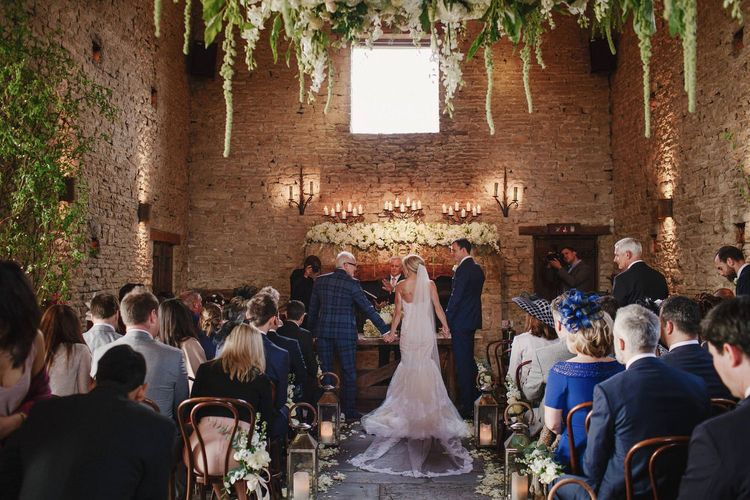 Cripps Barn Wedding Ceremony | Bride in Christos Costarellos Fishtail Gown | Andy Gaines Photography | Thompson Granger Films