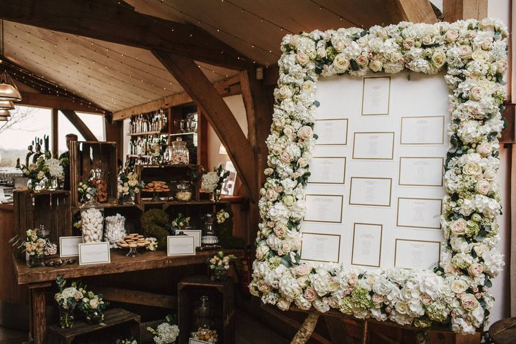 Floral Table Plan | Wooden Crate Sweet Table | Wedding Decor | Cripps Barn Wedding | Andy Gaines Photography | Thompson Granger Films