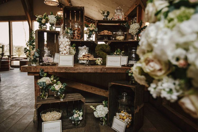 Wooden Crate Sweet Table | Wedding Decor | Cripps Barn Wedding | Andy Gaines Photography | Thompson Granger Films