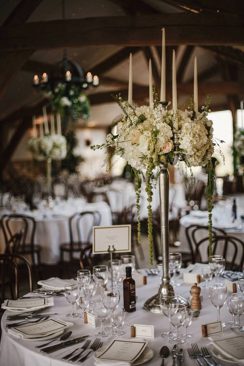 Floral Candelabra Centrepiece | Wedding Decor | Cripps Barn Wedding | Andy Gaines Photography | Thompson Granger Films