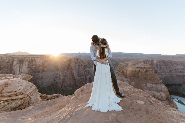 Dried Flower Crowns from Sophie & Luna | Antelope Canyon Arizona Elopement | Image by Natalie J Weddings Photography