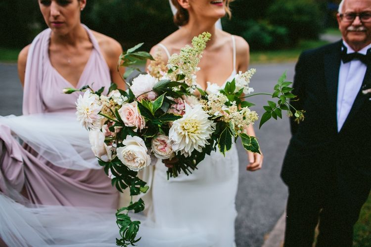 Oversized Wedding Bouquet With Pale Pink & White Roses & Dahlias