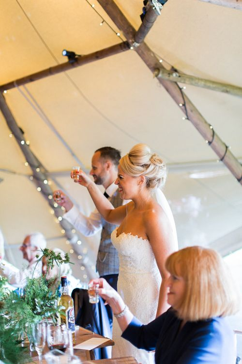 Wedding Speeches At Greenery Filled Tipi Wedding in Cheshire