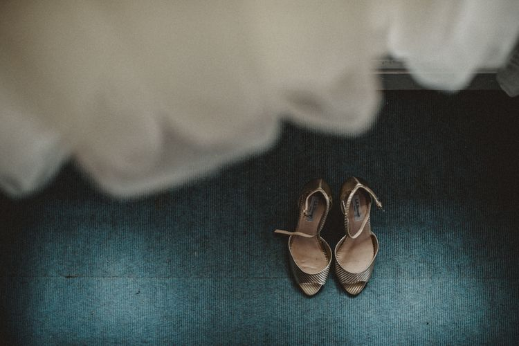 Wedding Dress & Gold Wedding Shoes