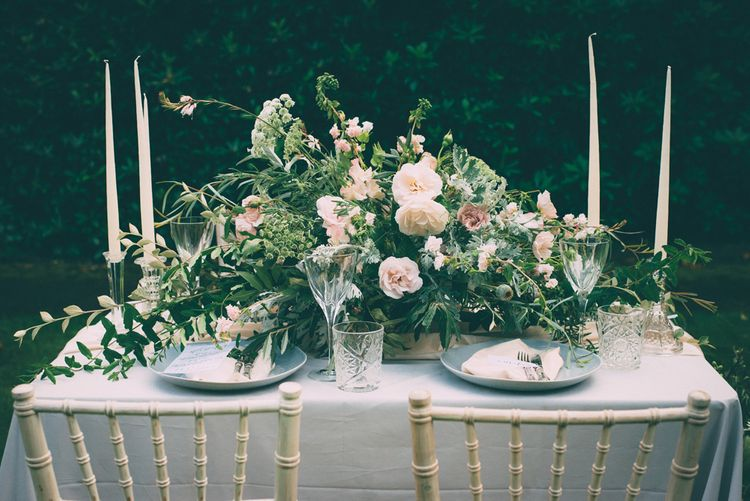 Blush Pink & Grey Tablescape | Styling by One Stylish Day