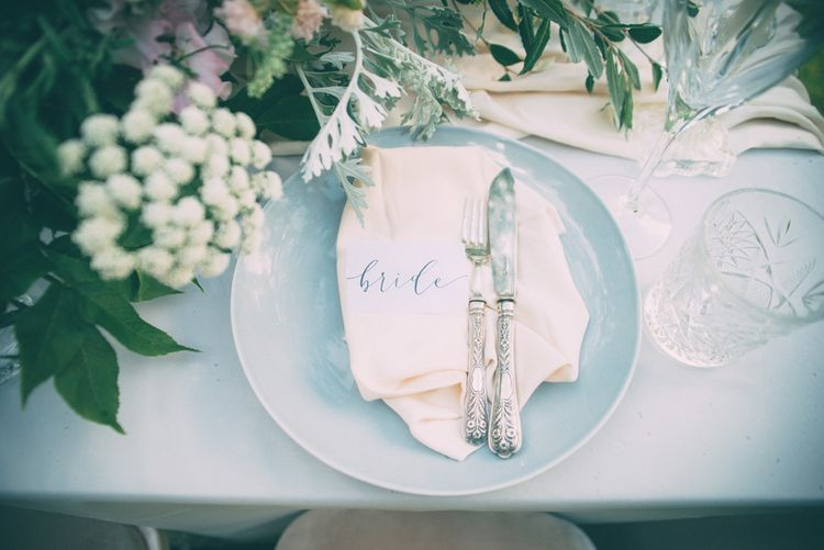 Blush Pink, Blue & Grey Tablescape | Styling by One Stylish Day