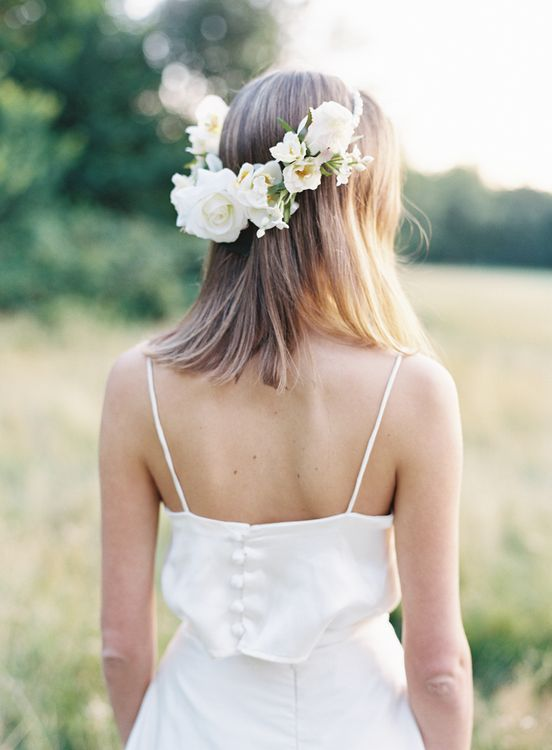 Wax Flower Crown With Bridal Separates From Kate Edmondson Bridal