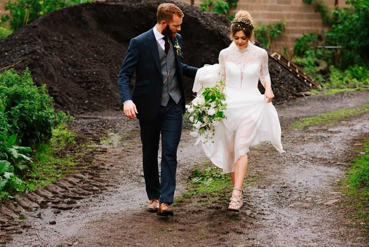 White, Gold & Green Farm Wedding In A Marquee In Scotland With Bride In Bespoke Dress & Images And Film From Tub Of Jelly