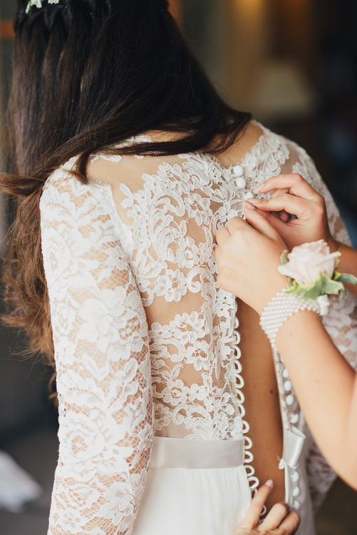 Bridal Preparations | Bride in Pre-Owned Suzanne Neville Scarlet Gown & Lace Overlay | DIY Woodland Wedding in South Wales | Cat Beardsley Photography