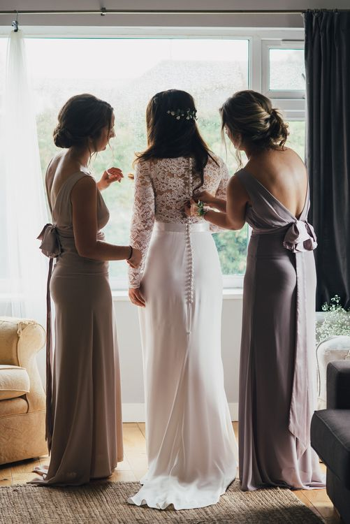 Bridal Preparations | Bride in Pre-Owned Suzanne Neville Scarlet Gown & Lace Overlay | Bridesmaids in Lilac TFNC Dresses | DIY Woodland Wedding in South Wales | Cat Beardsley Photography