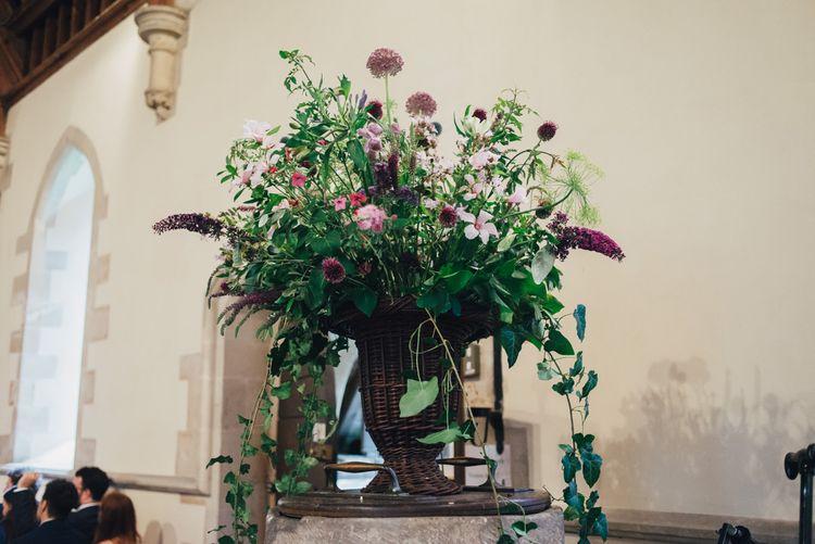Church Wedding Flowers | St Teilos Church Wedding Ceremony | DIY Woodland Wedding in South Wales | Cat Beardsley Photography