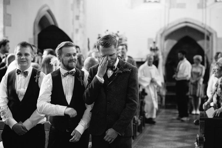 Emotional Groom at the St Teilos Church Altar | DIY Woodland Wedding in South Wales | Cat Beardsley Photography