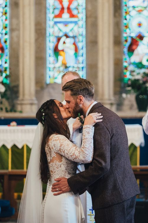 St Teilos Church Wedding Ceremony | Bride in Suzanne Neville Scarlet Gown | Groom in Harris Tweed Suit | DIY Woodland Wedding in South Wales | Cat Beardsley Photography