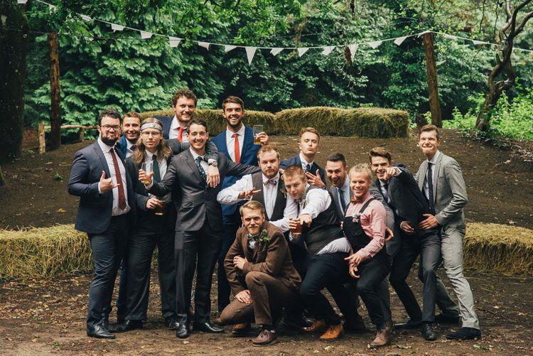 Groom in Harris Tweed Suit | DIY Woodland Wedding in South Wales | Cat Beardsley Photography