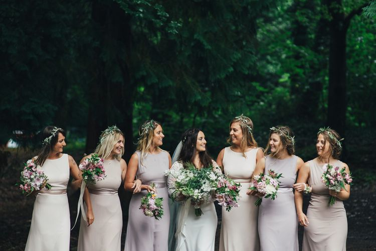 Bride in Suzanne Neville Scarlet Gown & Lace Overlay | Bridesmaids in Lilac TFNC Dresses | DIY Woodland Wedding in South Wales | Cat Beardsley Photography
