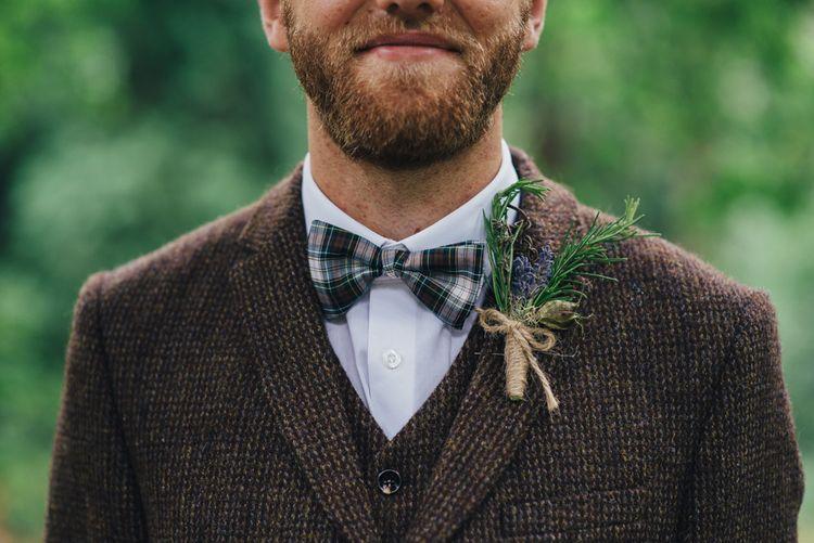 Groom in Harris Tweed Suit & Bow Tie | DIY Woodland Wedding in South Wales | Cat Beardsley Photography