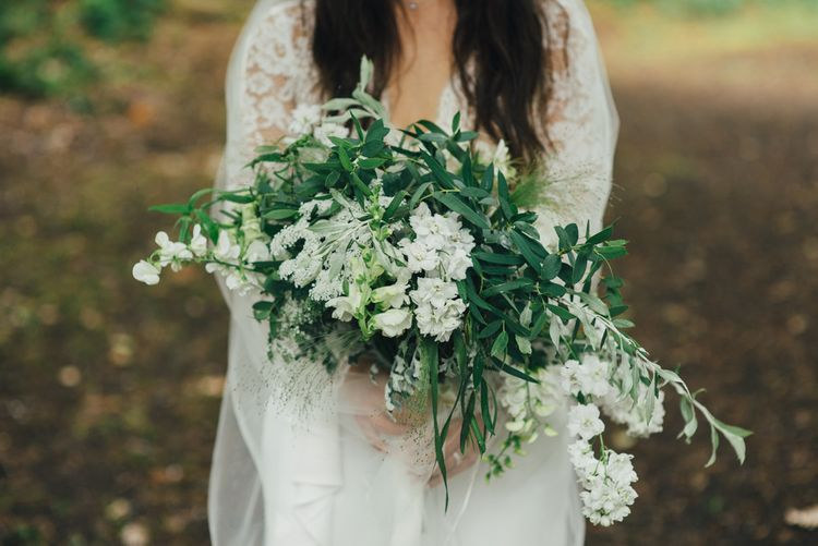 Wild Flower Bouquet | Bride in Suzanne Neville Scarlet Gown & Lace Overlay | DIY Woodland Wedding in South Wales | Cat Beardsley Photography