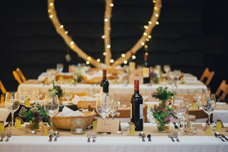 Rustic Table Scape | DIY Woodland Wedding in South Wales | Cat Beardsley Photography