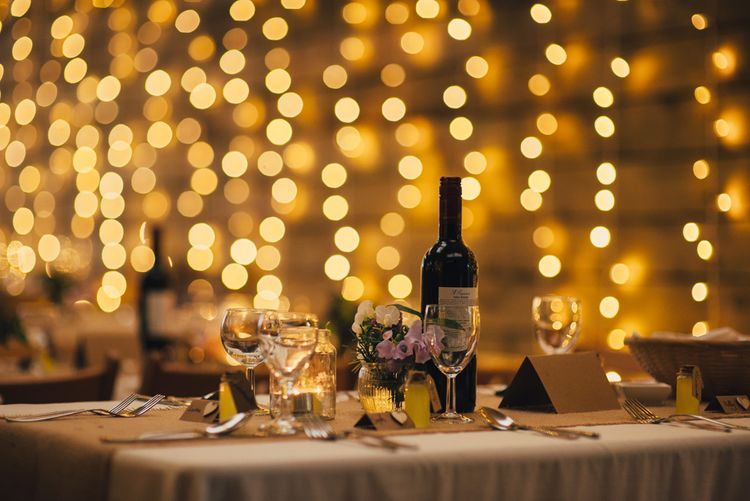 Fairy Light Backdrop | Table Scape | DIY Woodland Wedding in South Wales | Cat Beardsley Photography