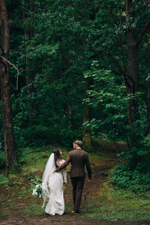 Bride in Suzanne Neville Scarlet Gown | Groom in Harris Tweed Suit | DIY Woodland Wedding in South Wales | Cat Beardsley Photography