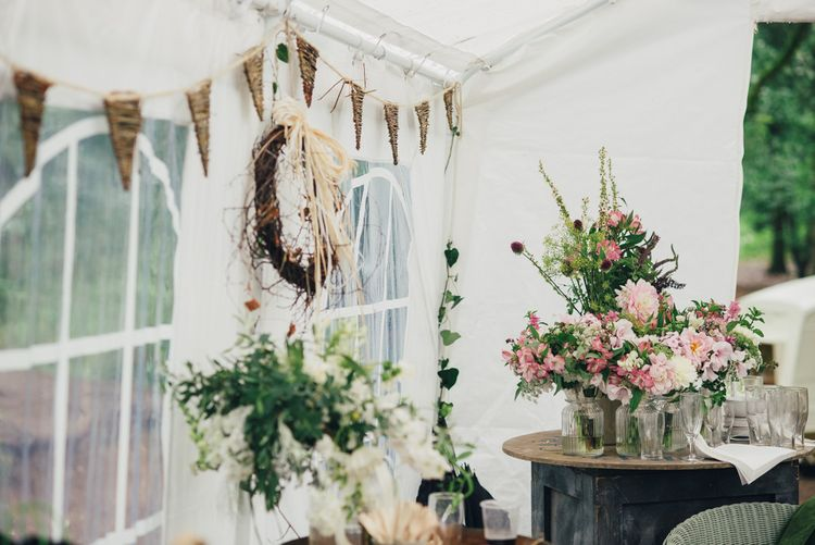 Bunting & Homegrown Flowers | DIY Woodland Wedding in South Wales | Cat Beardsley Photography