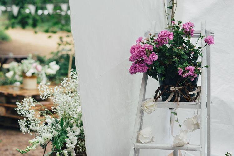 Vintage Step Ladder Wedding Decor | DIY Woodland Wedding in South Wales | Cat Beardsley Photography
