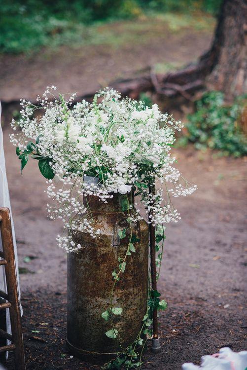Milk Churn Wedding Flowers | DIY Woodland Wedding in South Wales | Cat Beardsley Photography