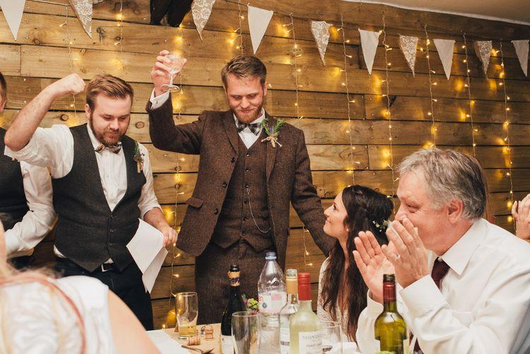 Speeches | Groom in Harris Tweed Suit | DIY Woodland Wedding in South Wales | Cat Beardsley Photography