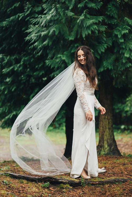 Bride in Suzanne Neville Scarlet Gown | DIY Woodland Wedding in South Wales | Cat Beardsley Photography